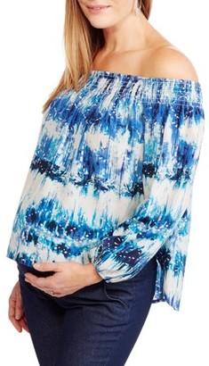 Liz Lange Whoa, Wait. MaternityMaternity maxi dress w/crochet shoulder detail
