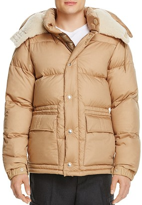 Moncler Cousteau Shearling Hood Quilted Down Jacket $2,635 thestylecure.com