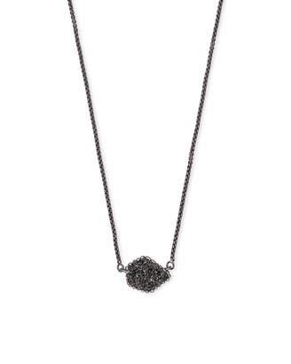 Kendra Scott Tess Gunmetal Pendant Necklace in Black Drusy