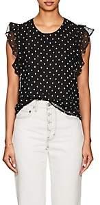 FiveSeventyFive Women's Star-Print Crepe Flutter-Sleeve Top - Black