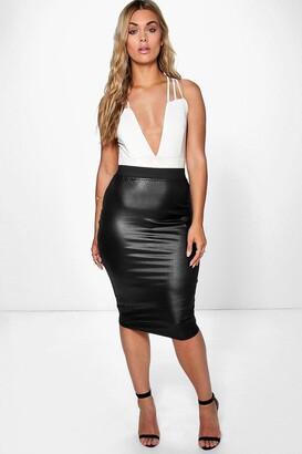 boohoo Plus PU Midi Skirt