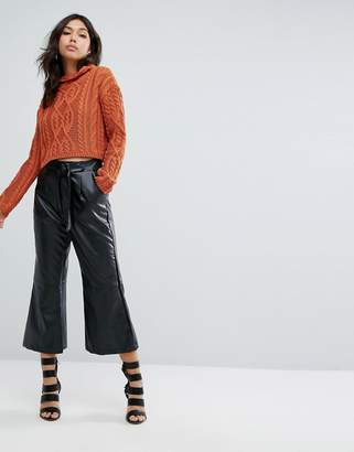 boohoo Belted Wide Leg Leather Look Culottes