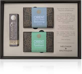 Melchior & Balthazar - Passion Gift Box (Argan Oil Roll-On, Tonifying Eucalyptus & Relaxing Amber Creamy Soaps)