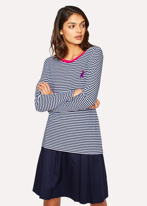 Paul Smith Women's Navy And White Stripe Embroidered 'Dino' Cotton Long-Sleeve T-Shirt