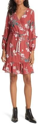 Dolan Floral Faux Wrap Silk Dress