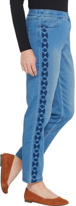 Denim & Co. Petite Soft Stretch Pull-on Ankle Jeans w/ Embroidery