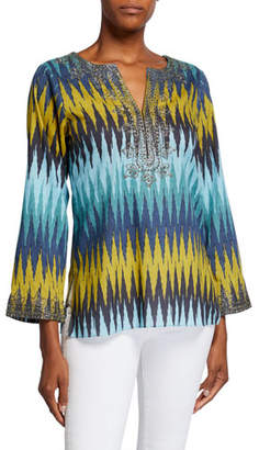 Bella Tu Peyton Zigzag Tunic with Metallic Thread