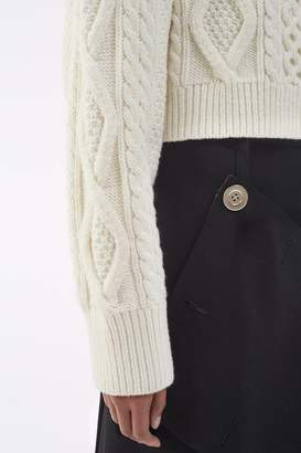3.1 Phillip Lim Cropped Cable-Knit Sweater