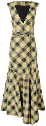 Derek Lam V-Neck Gauze Plaid Dress with Asymmetric Hem