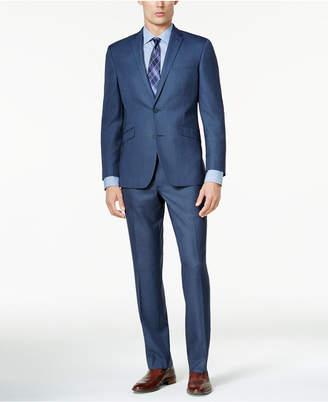 Kenneth Cole Reaction Men's Slim-Fit Medium Blue Sharkskin Techni-Cole Suit
