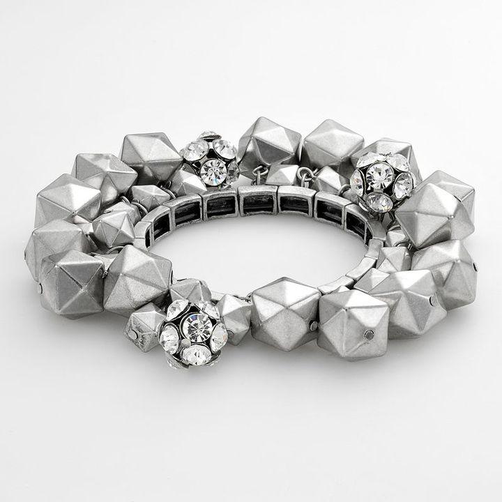 Simply vera vera wang silver-tone beaded flex bracelet