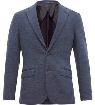 Single Breasted Herringbone Cotton Blend Blazer - Mens - Navy