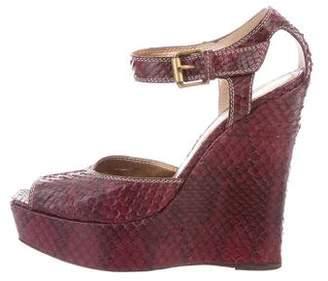 Bottega Veneta Python Wedge Sandals