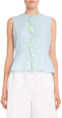 DELPOZO Sleeveless Cotton Poplin Peplum Top w/ Removable Embellished Placket