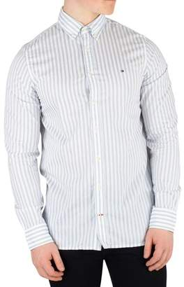 Men's Slim Dobby Twill Striped Shirt, White