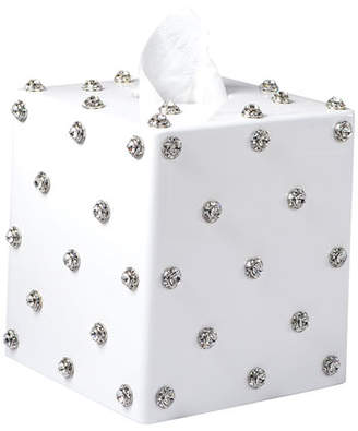 Mike and Ally Mike & Ally Nova Glass Tissue Box with Stones, White