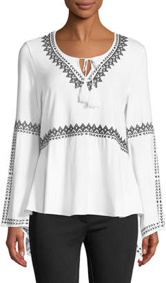 Joan Vass Embroidered Jersey Peasant Blouse