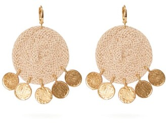 BEIGE Elise Tsikis - Dolna Rope Circle And Gold Plated Drop Earrings - Womens