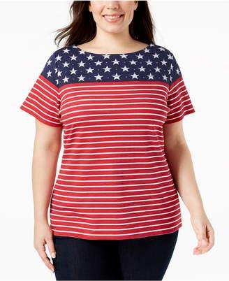 Karen Scott Plus Size American Flag T-Shirt, Created for Macy's