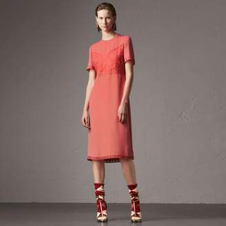Burberry Chantilly Lace Detail Silk Crepe Marocain Dress