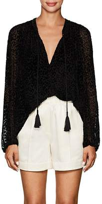 A.L.C. Women's Royan Leopard-Flocked Tulle Top