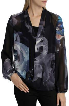 Hot Price Black/Blue Moon Floral Drape Top