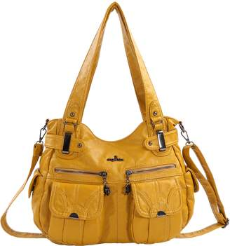 Angelkiss 2 Top Zippers Multi Pockets Handbags Washed Leather Purses Shoulder Bags 5739/1