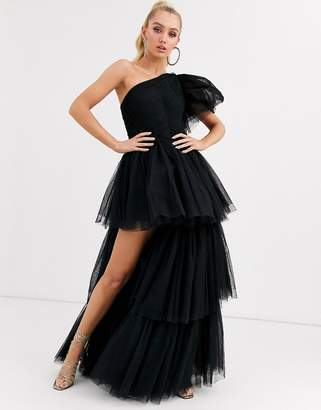 Lace & Beads one shoulder tulle maxi dtess with thigh split in black