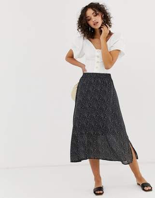 Vero Moda Aware micro polka dot midi skirt