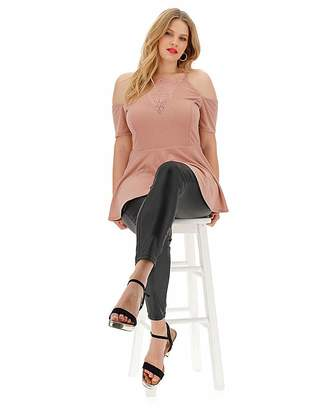 Fashion World Nude Lace Insert Cold Shoulder Top