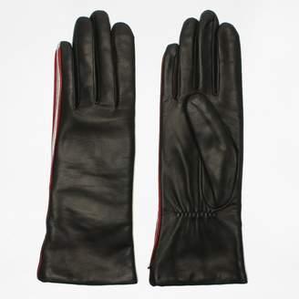 Agnelle Coraline Black Leather Contrast Trim Gloves