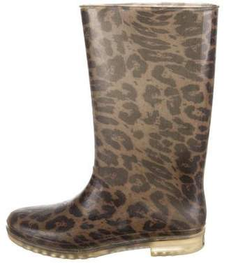 Stuart Weitzman Leopard Print Rain Boots