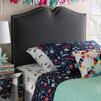 Baxton Studio Gracie Modern and Contemporary Dark Grey Fabric Upholstered Twin Size Headboard with Nail Heads Trim