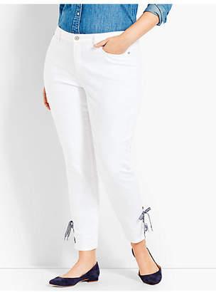 Talbots Gingham Lace-Up Denim Slim Ankle - White