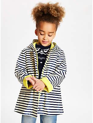 John Lewis & Partners Girls' Stripe Mac Coat, Navy/Cream