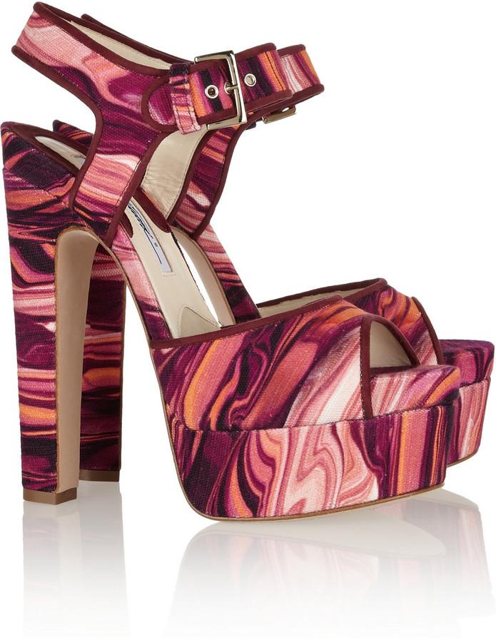 Brian Atwood Karin printed canvas platform sandals
