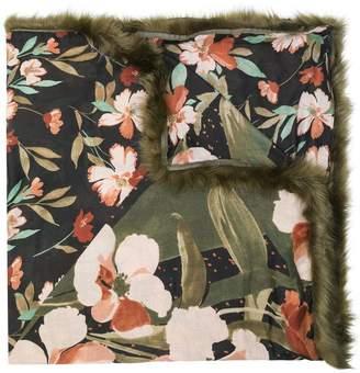 Twin-Set faux fur trim floral scarf