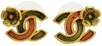 Chanel CC Logo Gold Tone Metal Flower Double C Stud Earrings