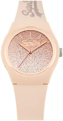 Superdry SYL179C Women's Urban Ombre Glitter Silicone Strap Watch, Natural