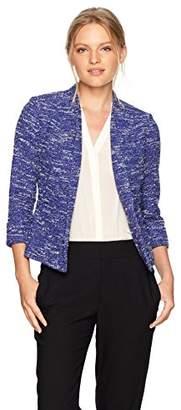 Kasper Women's Petite Wide Lapel Knit Tweed Jacket