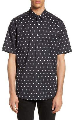Theory Menlo Slim Fit Short Sleeve Polka Dot Button-Up Shirt