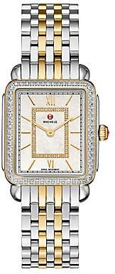 Michele Women's Deco II 16 Diamond, Mother-Of-Pearl & Two-Tone Stainless Steel Bracelet Watch