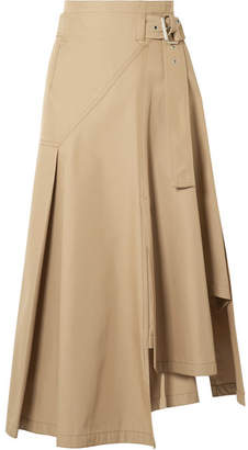 3.1 Phillip Lim Belted Paneled Twill Midi Skirt - Camel