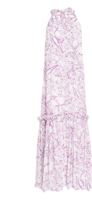 Tibi Isa Silk Tie-Neck Dress