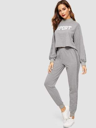 Shein Checked Panel Letter Pullover and Sweatpants Set