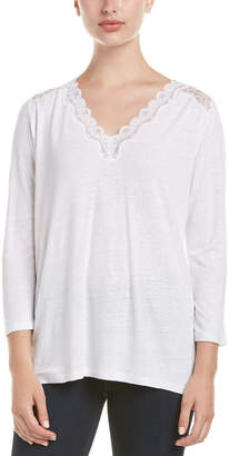 NYDJ Linen-Blend Lace Trim Knit Top