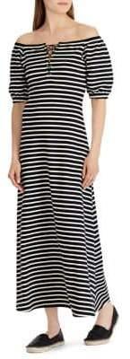 Lauren Ralph Lauren Striped Lace-Up Maxi Dress