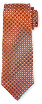Kiton Micro-Box Silk Tie, Rust Brown