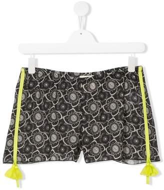 Douuod Kids TEEN tasselled floral shorts