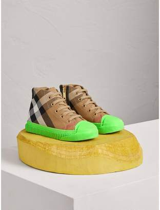 Burberry House Check and Leather High-top Sneakers